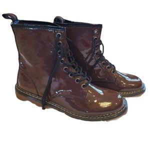 Kali brown patent leather combat boots sz 11 NEW